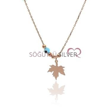 Söğütlü Silver Çınar Yaprağı Kolye Renkli